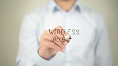 Wireless Access, man writing on transparent screen Stock Footage