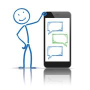 Stickman Messenger Smartphone Speech Bubbles Stock Illustration