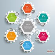 6 Colored Hexagons Background Halftone Cylce Gears - stock illustration
