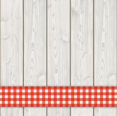 Wooden Planks Red Checked Tablecloth Stock Illustration