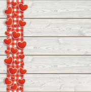 Wooden Planks Red Checked Tablecloth Hearts Stock Illustration