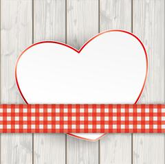 Wooden Planks Red Checked Tablecloth Convert Heart Stock Illustration