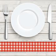Wood Red Checked Cloth Knife Fork Plate - stock illustration