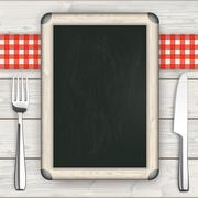 Wood Red Checked Cloth Knife Fork Blackboard - stock illustration
