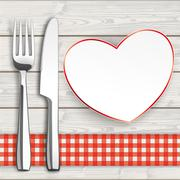 Wood Checked Table Cloth Knife Fork Heart Stock Illustration