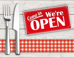 Wood Checked Cloth Knife Fork Sign Open Stock Illustration
