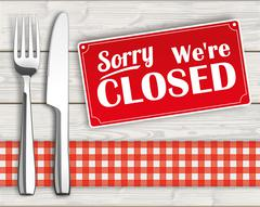 Wood Checked Cloth Knife Fork Sign Closed - stock illustration