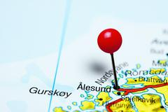 Alesund pinned on a map of Norway Stock Photos