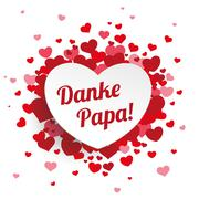White Paper Emblem Hearts Danke Papa Stock Illustration