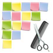 Scissors Comb Colored Sticks Pinboard - stock illustration