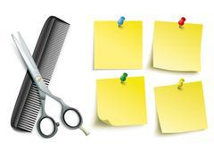 Scissors Comb 4 Yellow Sticks Colored Pins Stock Illustration