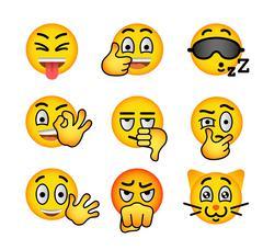 Smiley face emoji flat vector icons set - stock illustration
