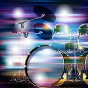 abstract grunge background with drum kit - stock illustration