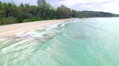 Aerial view of crystal clear beach - Koh Kood, Thailand Stock Footage