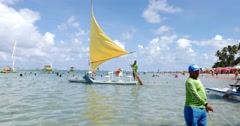 "The famous ""Jangada"" in Porto de Galinhas, Brazil Stock Footage"