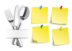 Fork Knife Spoon 4 Yellow Sticks Colored Pins - stock illustration