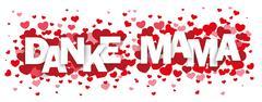 Danke Mama Red Hearts SH - stock illustration
