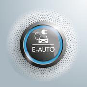 Button E-Auto Halftone - stock illustration