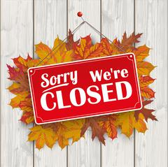 Autumn Foliage Wood Sign Closed - stock illustration