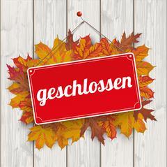 Autumn Foliage Sign Geschlossen Wood Stock Illustration
