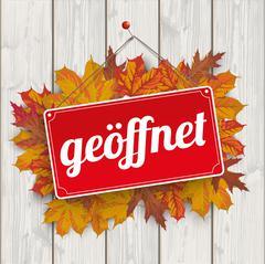 Autumn Foliage Sign Geoeffnet Wood Stock Illustration