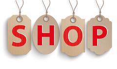 4 Carton Hanging Classic Price Stickers Shop Stock Illustration