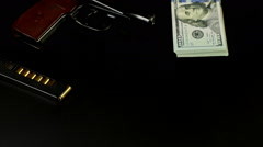 Money and bullets, drugs Stock Footage