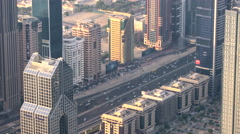 Skyscrapers lining Sheikh Zayed Road, Dubai Stock Footage