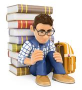 3D Young student depressed. Bullying - stock illustration