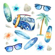 Hand drawn watercolor ocean surfing set. Beach holiday tropical - stock illustration