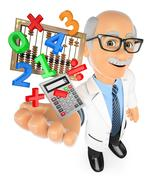 3D Math teacher with calculator and abacus - stock illustration