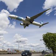 EgyptAir boeing 777 Landing at London Heathrow - stock photo