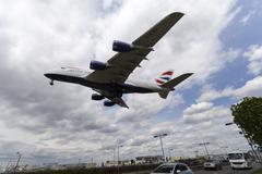 British Airways A380 Heathrow Airport - stock photo