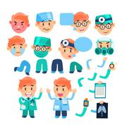 Doctor Characters Creation Set - stock illustration