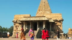 Thanjavur - People visiting Brihadeshwara Temple. 4K resolution. Stock Footage
