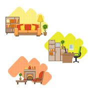 Living Room And Home Office Interior Design Set Stock Illustration