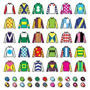Jockey uniform - jackets, silks and hats, horse riding icons set Stock Illustration