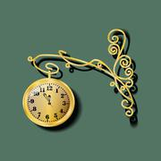 Gold watch with forged elements - stock illustration