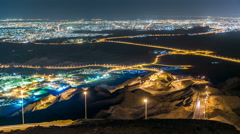 Night timelapse with Curvy road. Jebel Hafeet is a mountain located primarily in Stock Footage