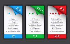 Eco, Basic and Pro pricing plans for your website and aplications - stock illustration
