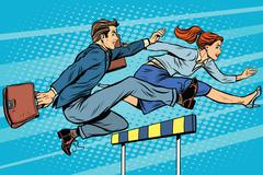 Business competition woman and man running Stock Illustration