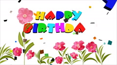 Happy Birthday, flowers and volleys of confetti on white background Stock Footage