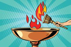 Fire torch bowl of fire - stock illustration
