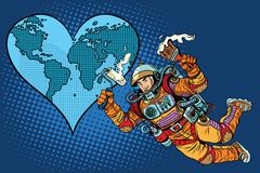 Environment day, Earth heart and the astronaut - stock illustration