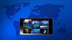 Broadcasting and contents of media on the screen of smartphone. Stock Footage