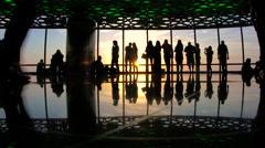 Viewing platform at sunset, Burj Al Khalifa, Dubai, Stock Footage