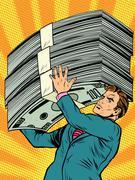 businessman athlete money - stock illustration