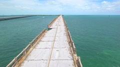 Extreme weathered bridge Florida Keys Stock Footage