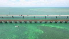 Flying past floida keys bridge Stock Footage