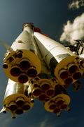 Space rocket Vostok-1 with bicolor filter Stock Photos